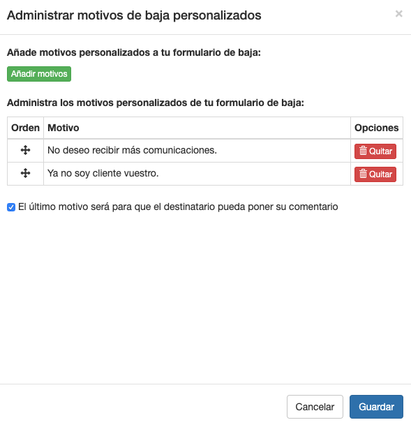 Administrar motivos de baja en formularios de baja email - Mensagia