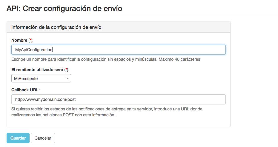 Ejemplo configuraciones de envío para la API de Mensagia