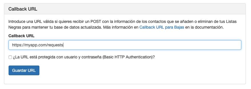 Callback URL para bajas - Mensagia