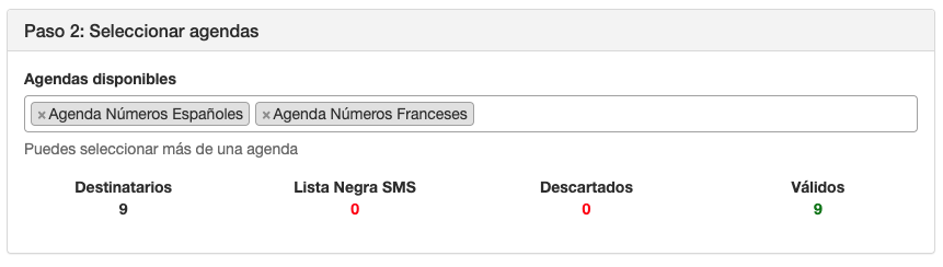 Seleccionar agendas para envío masivo SMS - Mensagia
