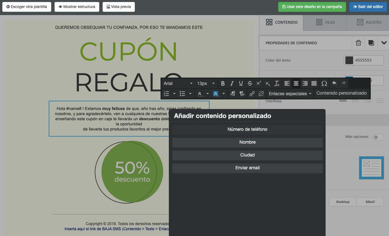 Añade campos personalizados o de contacto en tus plantilla de email - Mensagia