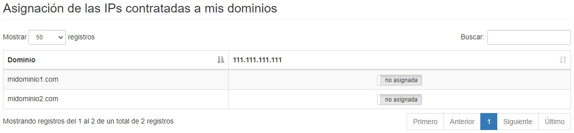 IP dedicadas - Asignar a dominios - Mensagia