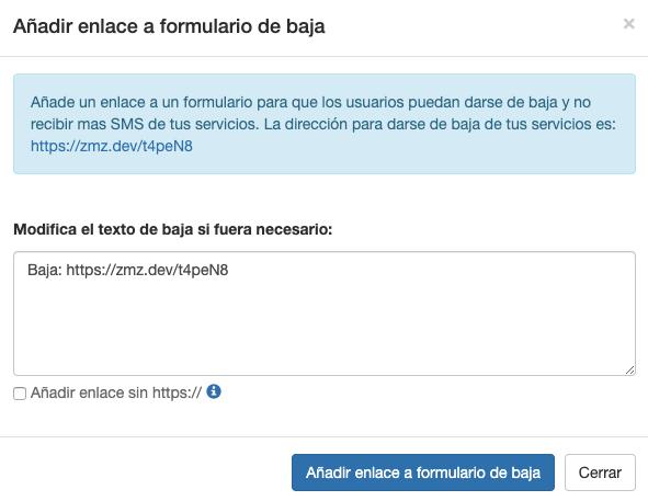 Ejemplo Añadir Formulario Baja Servicios SMS en tus envíos - Mensagia