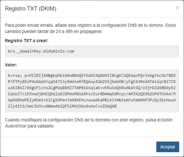 Autentificar dominio DKIM - Mensagia