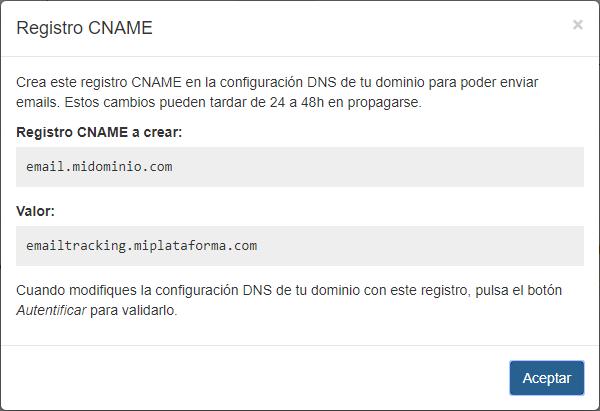 Autentificar dominio CNAME - Mensagia