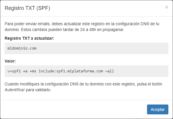 Autentificar dominio SPF - Mensagia