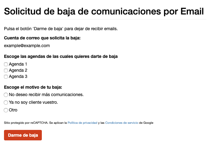 Ejemplo de formularios de baja email con motivos personalizados - Mensagia