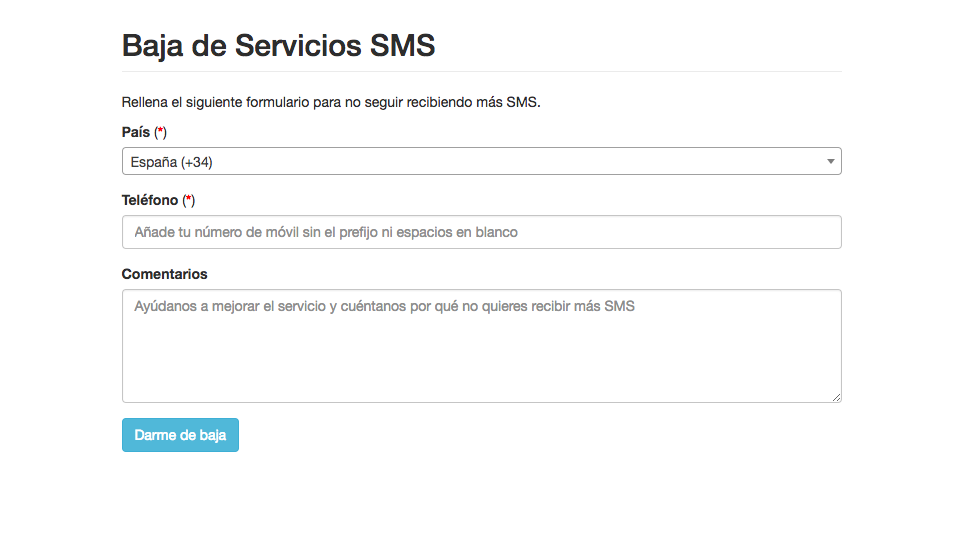 Formulario Baja SMS - Mensagia
