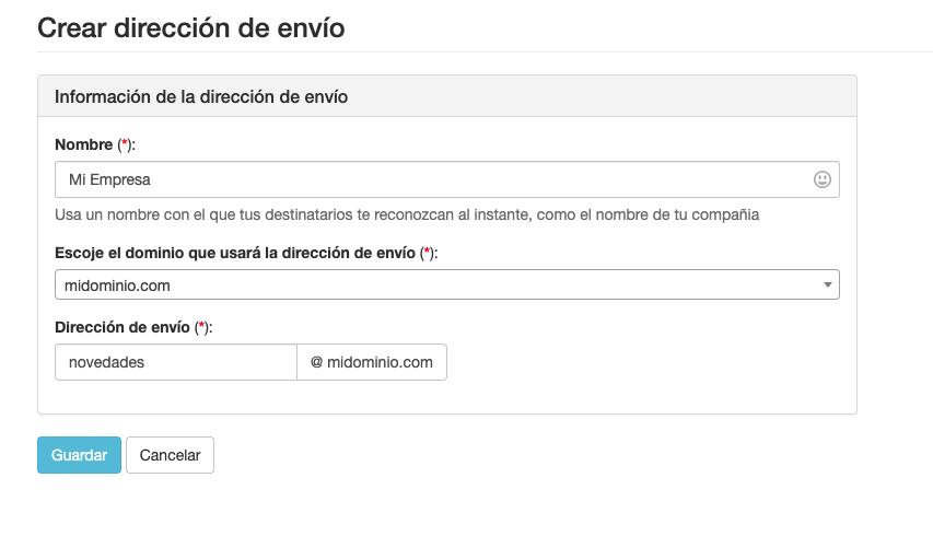 Crear una dirección de envío para Email  - Mensagia