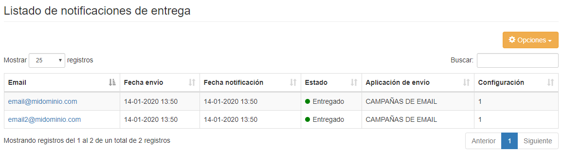 Listado de notificaciones de envío para envios de email - Mensagia