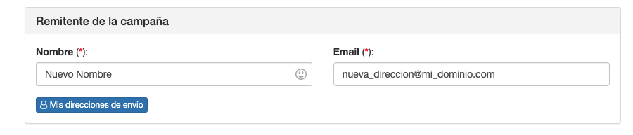 Crear una dirección de envío para Email desde Campañas - Mensagia