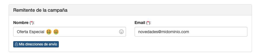 Cambiar el nombre de una dirección de envío en una campaña - Mensagia