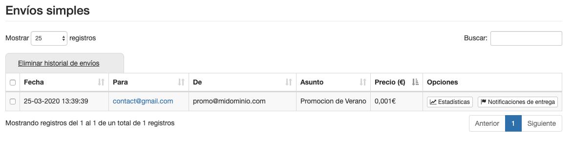 Consulta los envíos simples de email - Mensagia