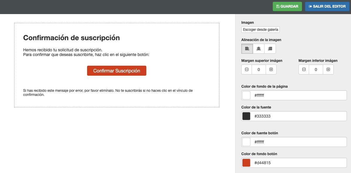 Personalizar email de confirmar suscripción - Mensagia