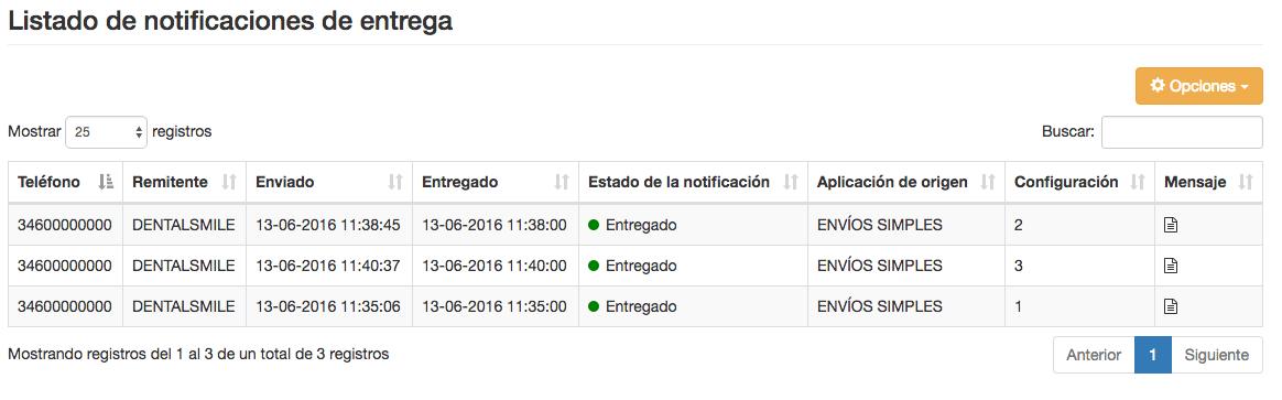 Listado de notificaciones de envío para envios masivos SMS - Mensagia