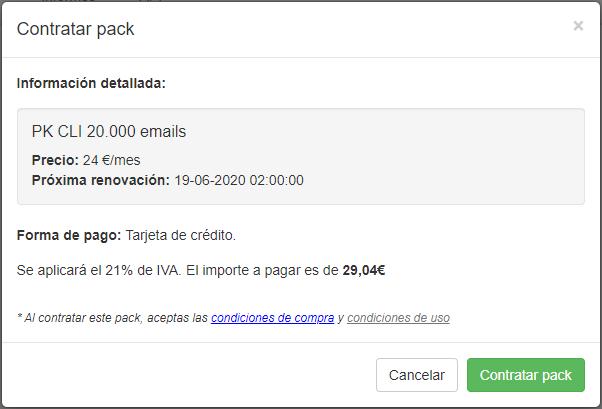 Packs para clientes - Contratar pack - Mensagia