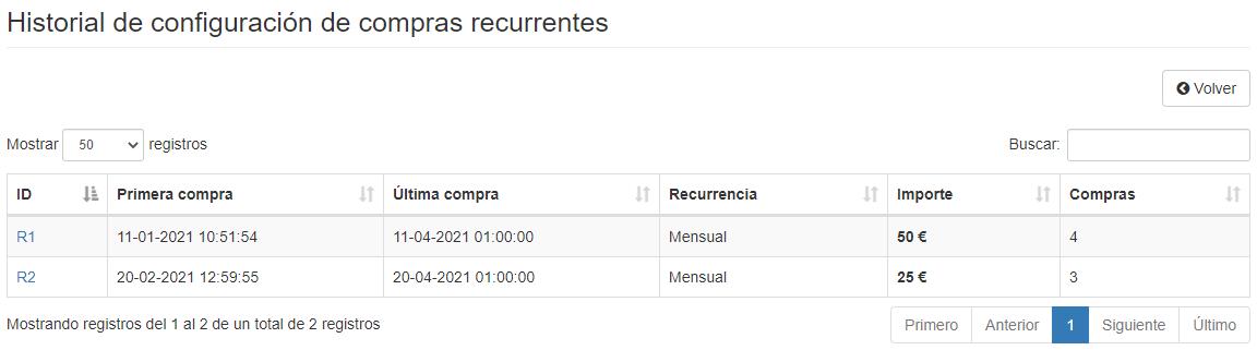 Compras recurrentes - Historial configuraciones - Mensagia