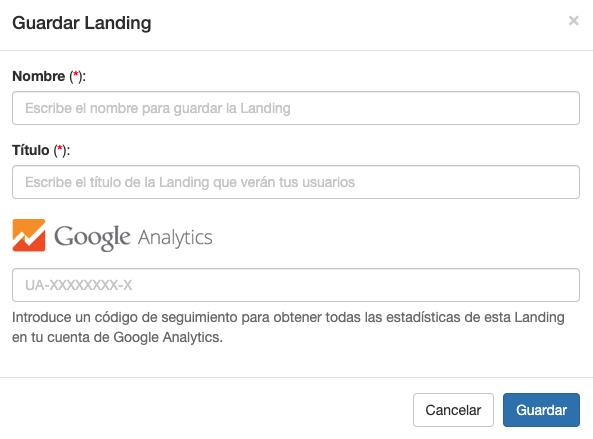 Ejemplo de creación de una nueva Landing SMS- Mensagia