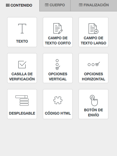 Tipos de elementos de formulario disponibles para Formularios SMS- Mensagia