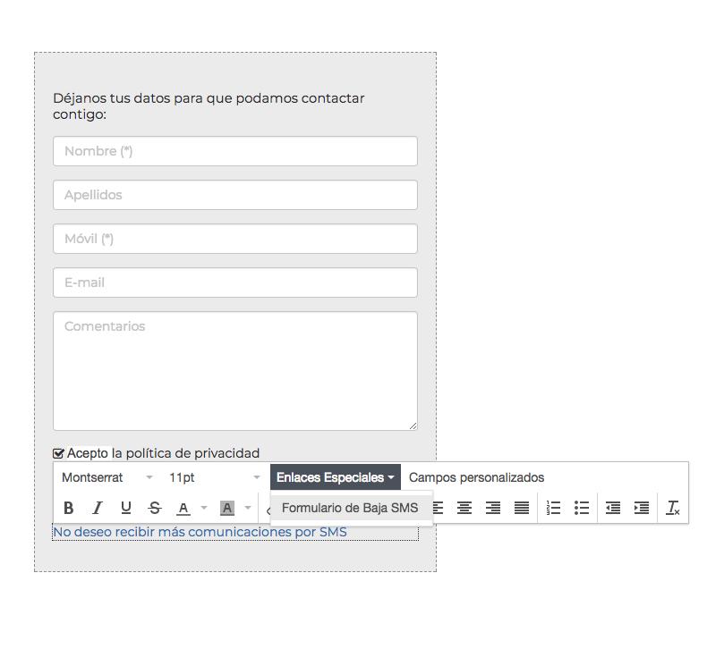 Ejemplo añadir enlace de baja SMS en Formulario SMS - Mensagia