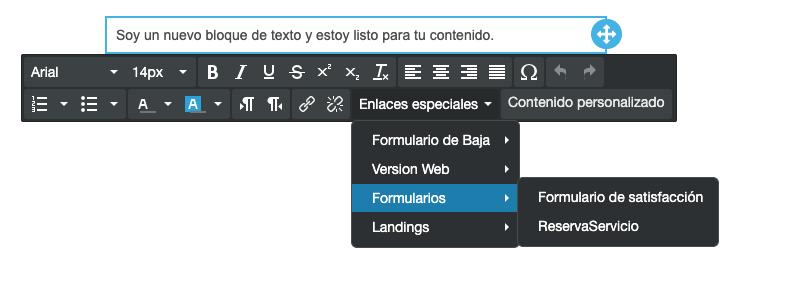 Usar un Formulario en tus envíos de email a través de texto - Mensagia