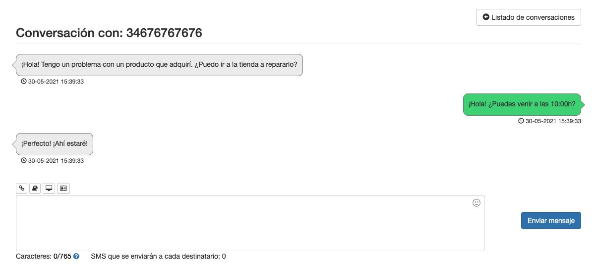 Ejemplo de conversación de números 2 Way SMS - Mensagia