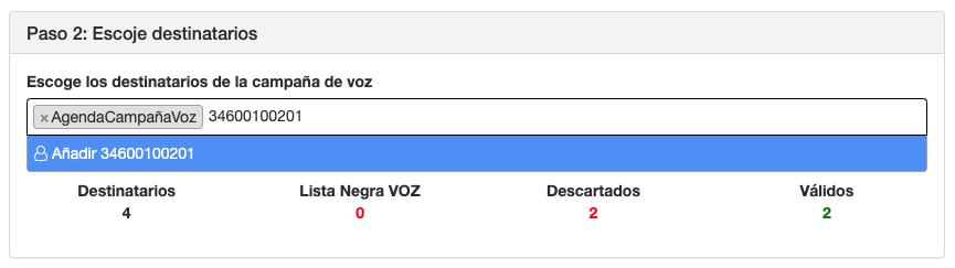 Selecciona destinatarios campaña de VOZ - Paso 2 - Mensagia