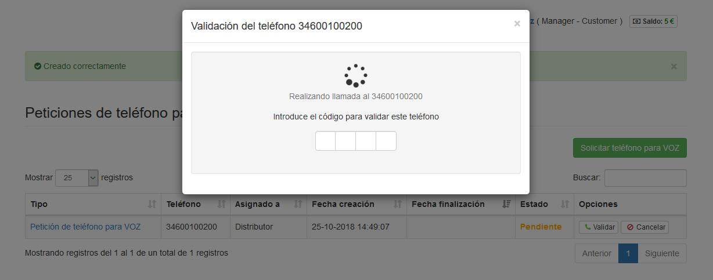 Introduce peticiones de teléfonos para VOZ - Mensagia